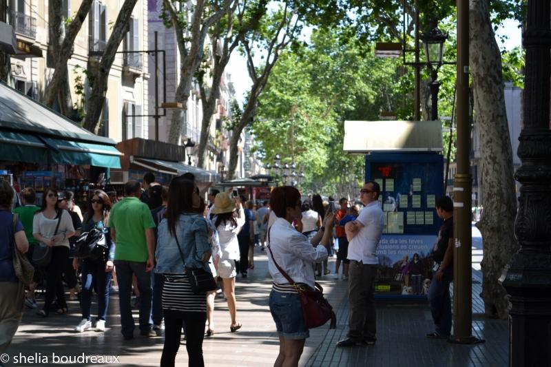People walking on Las Rambla in Barcelona